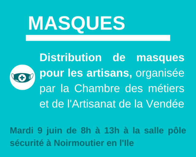 Mardi 9 juin Retrait de masques artisans