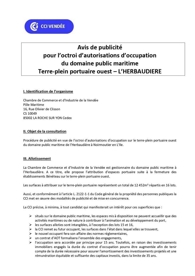 Avis de publicité pour l'octroi d'autorisations d'occupation du domaine public maritime