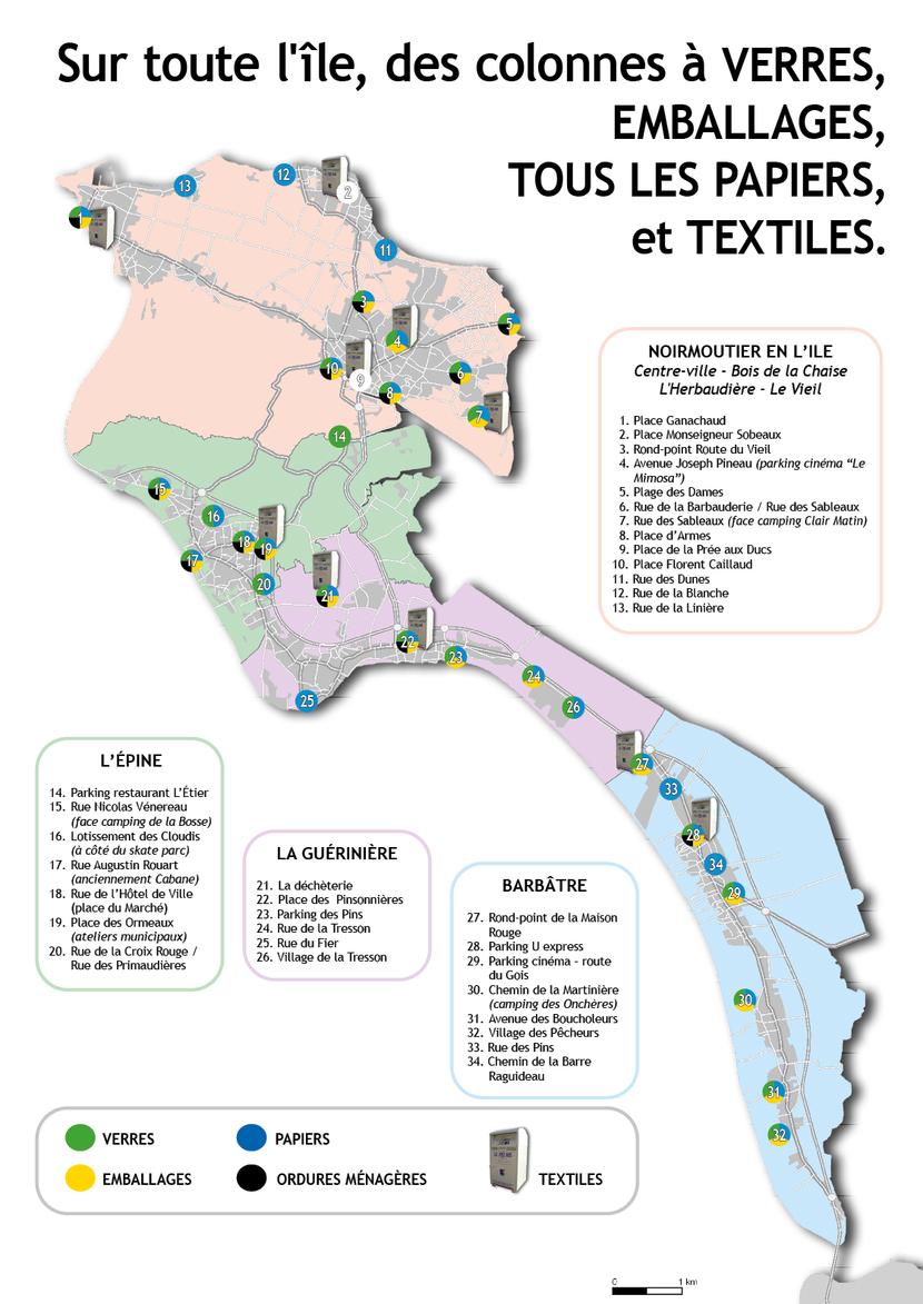 Carte des Points d'apports volontaires ile de Noirmoutier